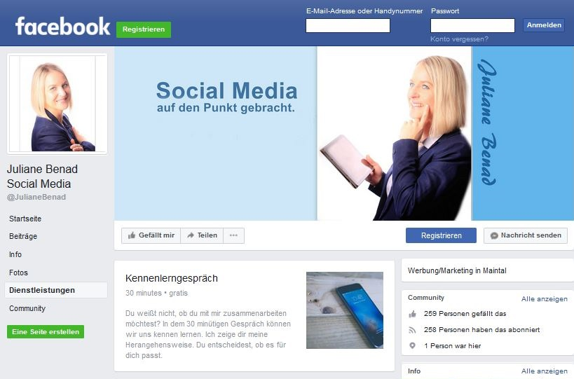 Facebook-Seite Juliane Benad Social Media