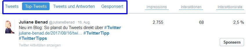 Tweet Aktivität Dashboard von Twitter